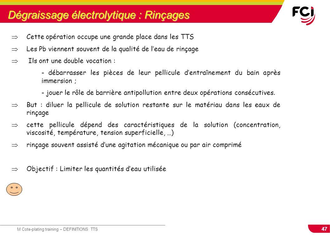 Dégraissage électrolytique : Rinçages