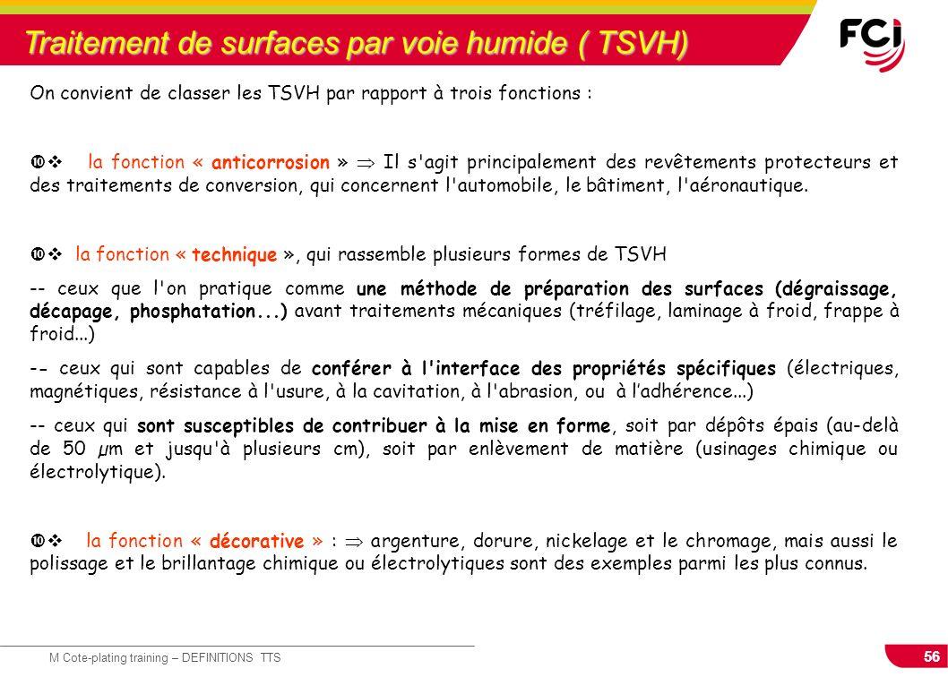 Traitement de surfaces par voie humide ( TSVH)