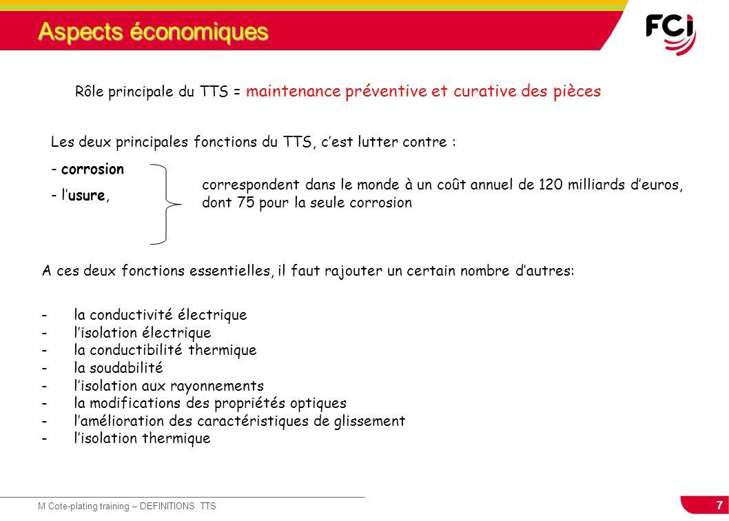 Aspects économiques Rôle principale du TTS = maintenance préventive et curative des pièces.