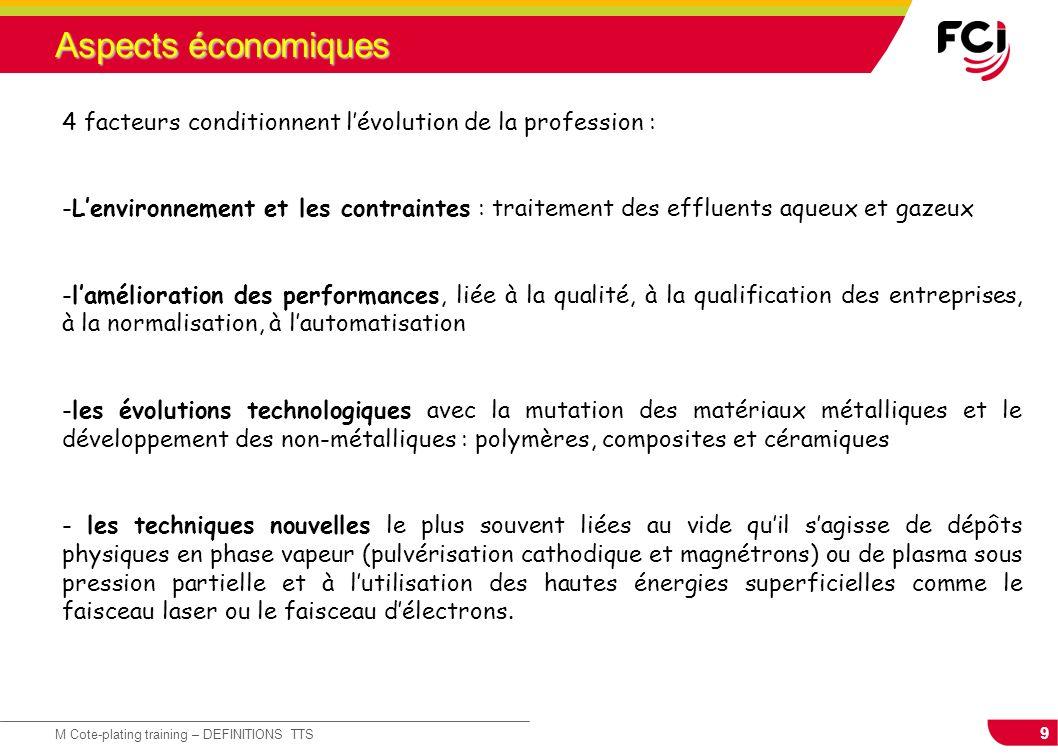 Aspects économiques 4 facteurs conditionnent l'évolution de la profession :