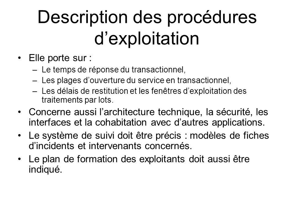 Description des procédures d'exploitation
