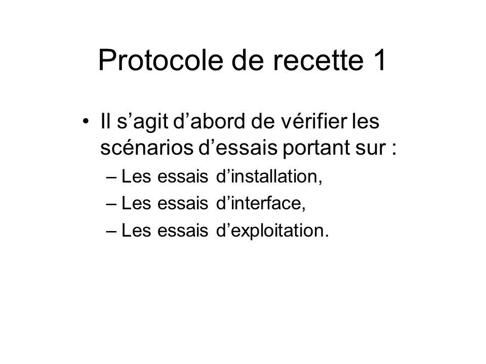 Protocole de recette 1 Il s'agit d'abord de vérifier les scénarios d'essais portant sur : Les essais d'installation,