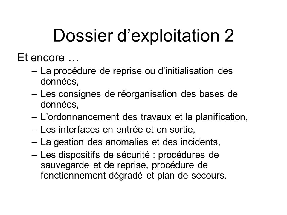 Dossier d'exploitation 2