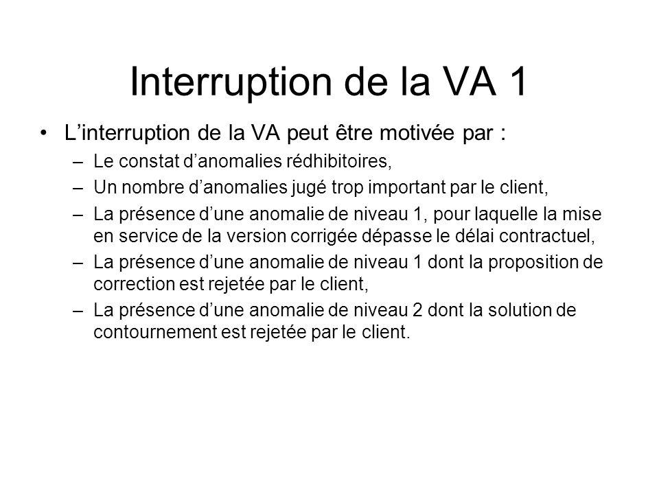 Interruption de la VA 1 L'interruption de la VA peut être motivée par : Le constat d'anomalies rédhibitoires,