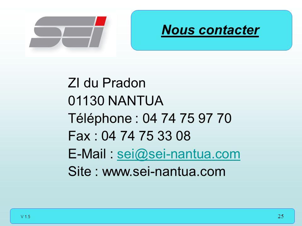 Nous contacter ZI du Pradon. 01130 NANTUA. Téléphone : 04 74 75 97 70. Fax : 04 74 75 33 08. E-Mail : sei@sei-nantua.com.