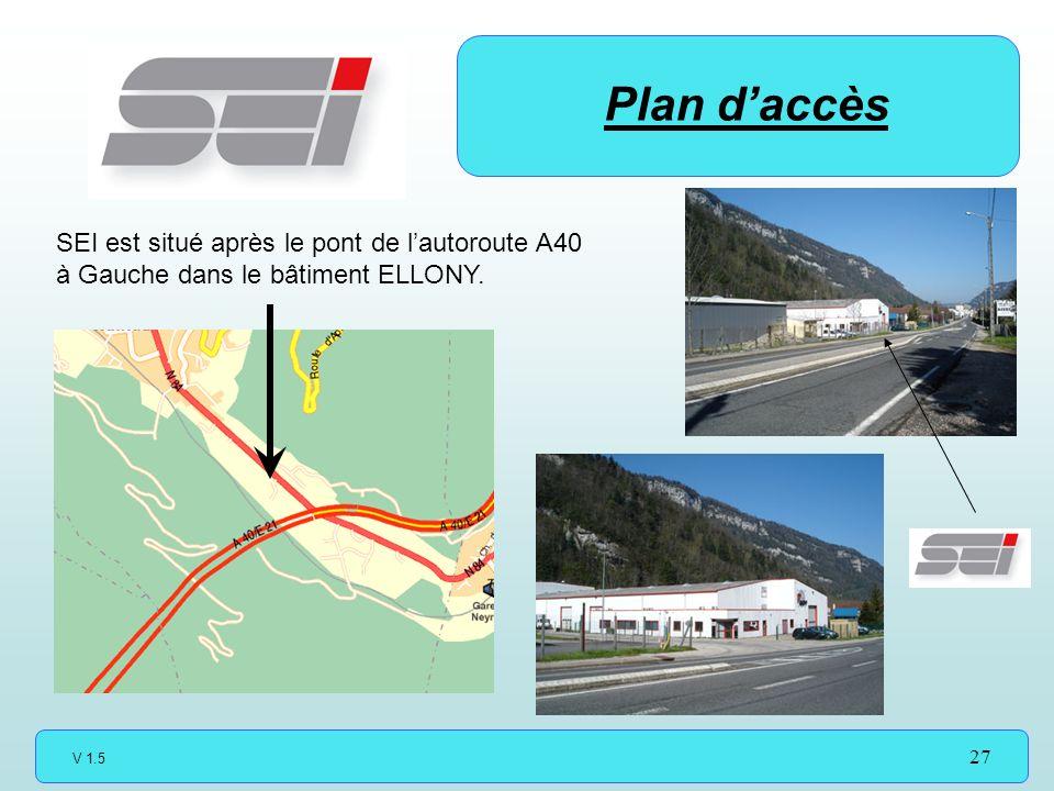 Plan d'accès SEI est situé après le pont de l'autoroute A40 à Gauche dans le bâtiment ELLONY.