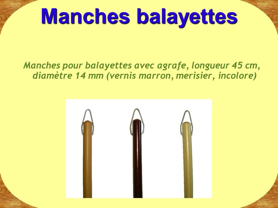 Manches balayettes Manches pour balayettes avec agrafe, longueur 45 cm, diamètre 14 mm (vernis marron, merisier, incolore)