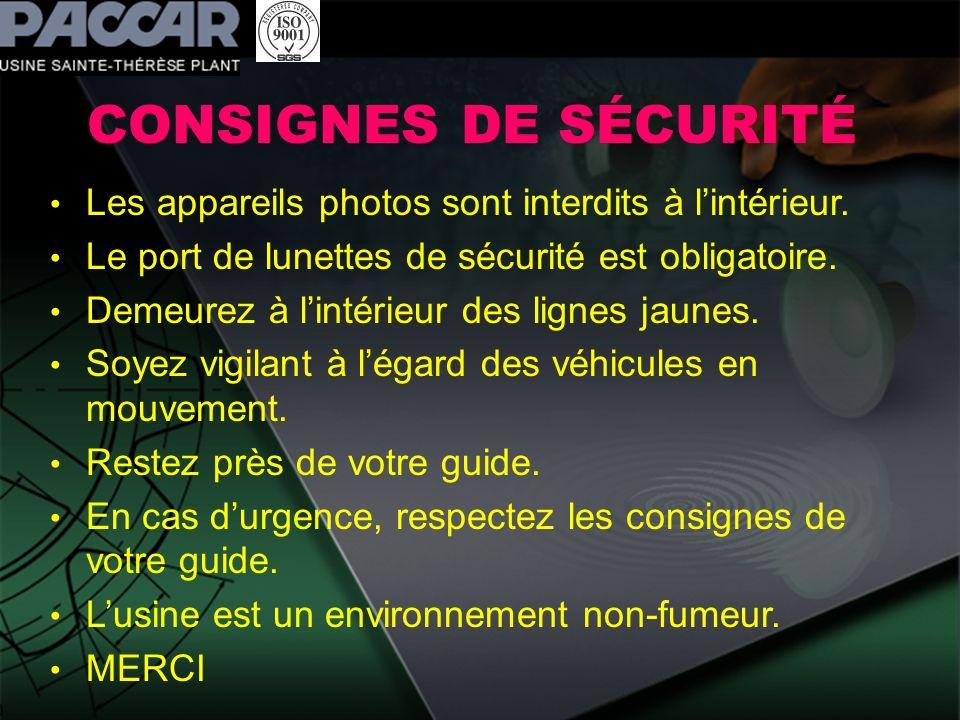 CONSIGNES DE SÉCURITÉ Les appareils photos sont interdits à l'intérieur. Le port de lunettes de sécurité est obligatoire.