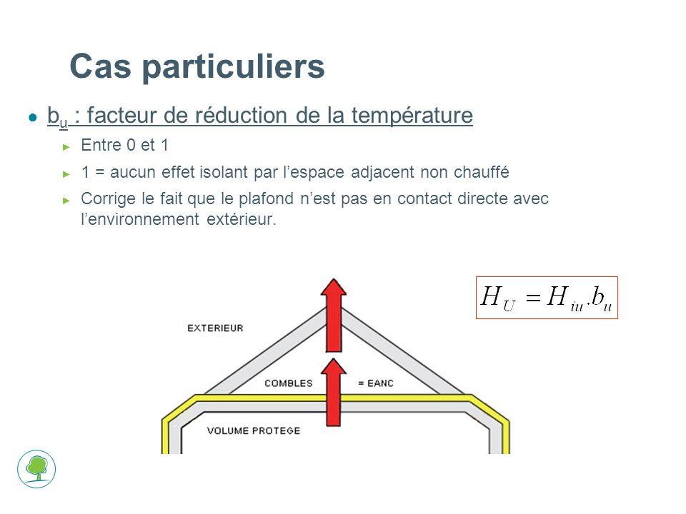 Cas particuliers bu : facteur de réduction de la température
