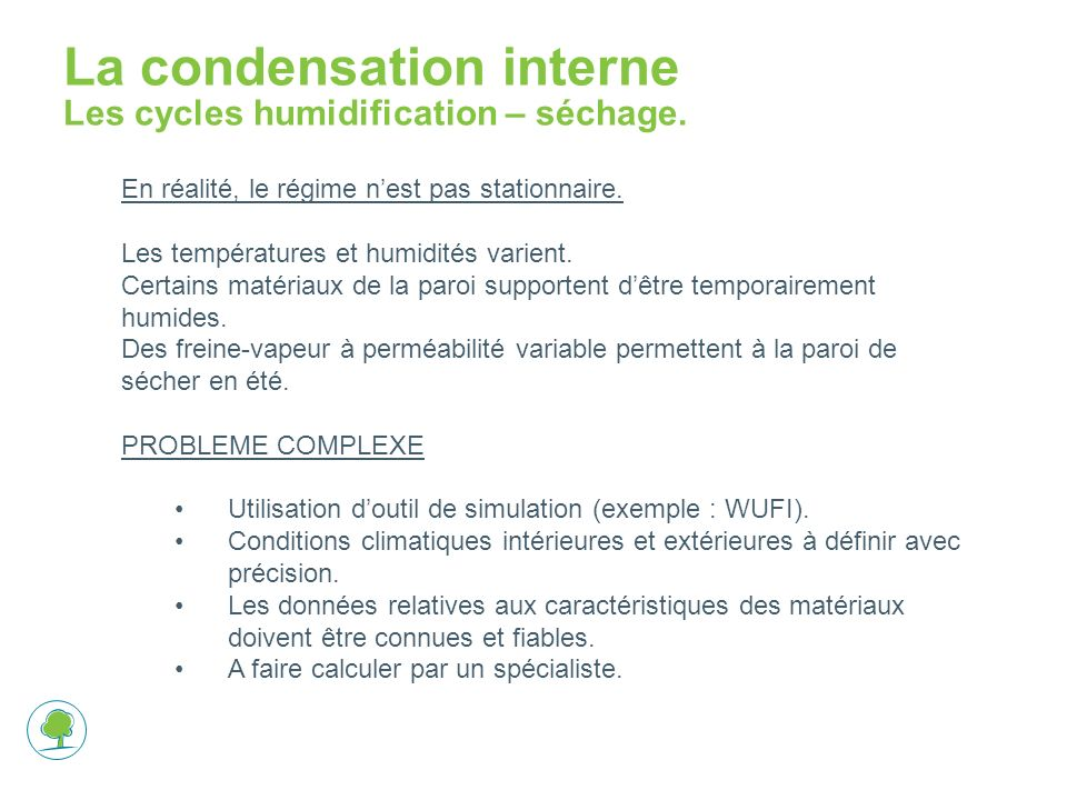 La condensation interne Les cycles humidification – séchage.