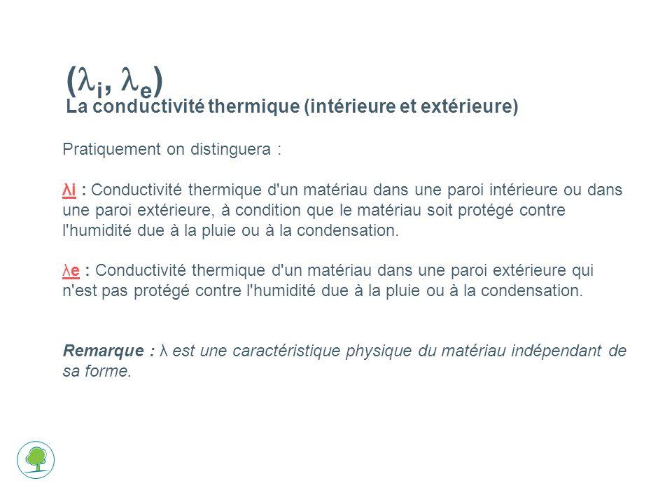 (li, le) La conductivité thermique (intérieure et extérieure)
