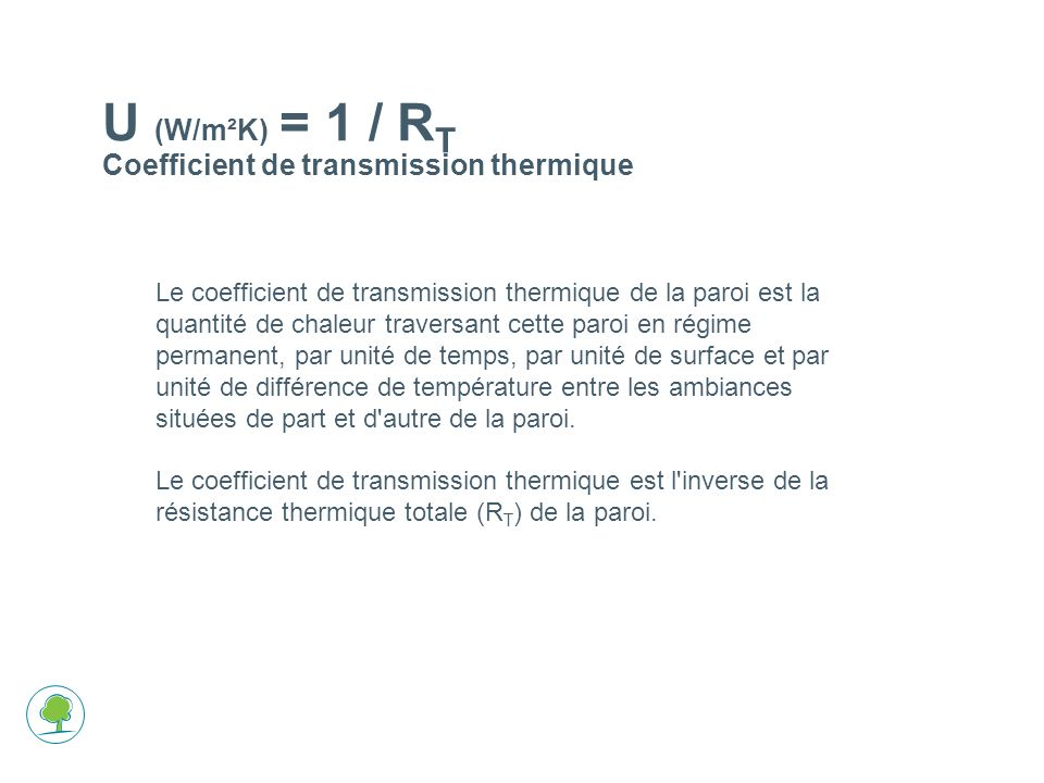 U (W/m²K) = 1 / RT Coefficient de transmission thermique