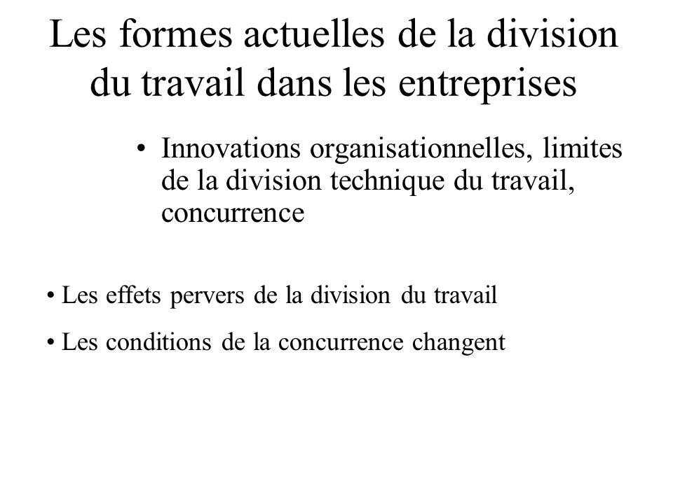 Les formes actuelles de la division du travail dans les entreprises