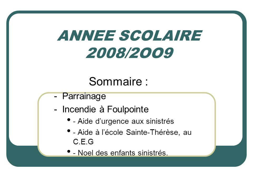 ANNEE SCOLAIRE 2008/2OO9 Sommaire : - Parrainage
