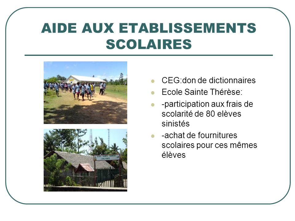 AIDE AUX ETABLISSEMENTS SCOLAIRES