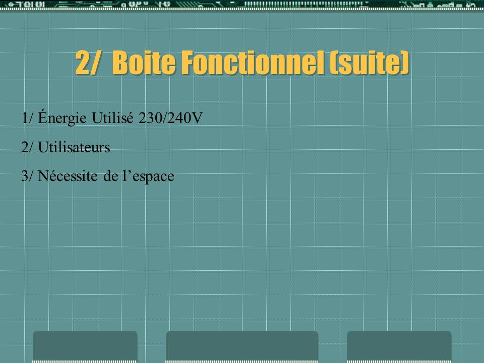 2/ Boite Fonctionnel (suite)