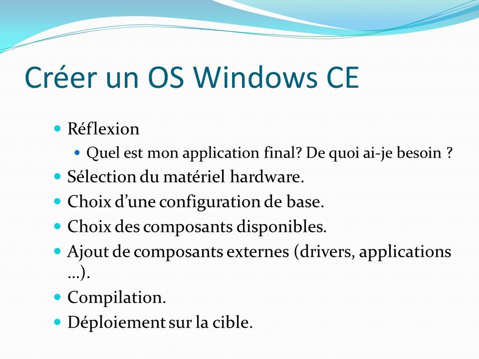 Créer un OS Windows CE Réflexion Sélection du matériel hardware.