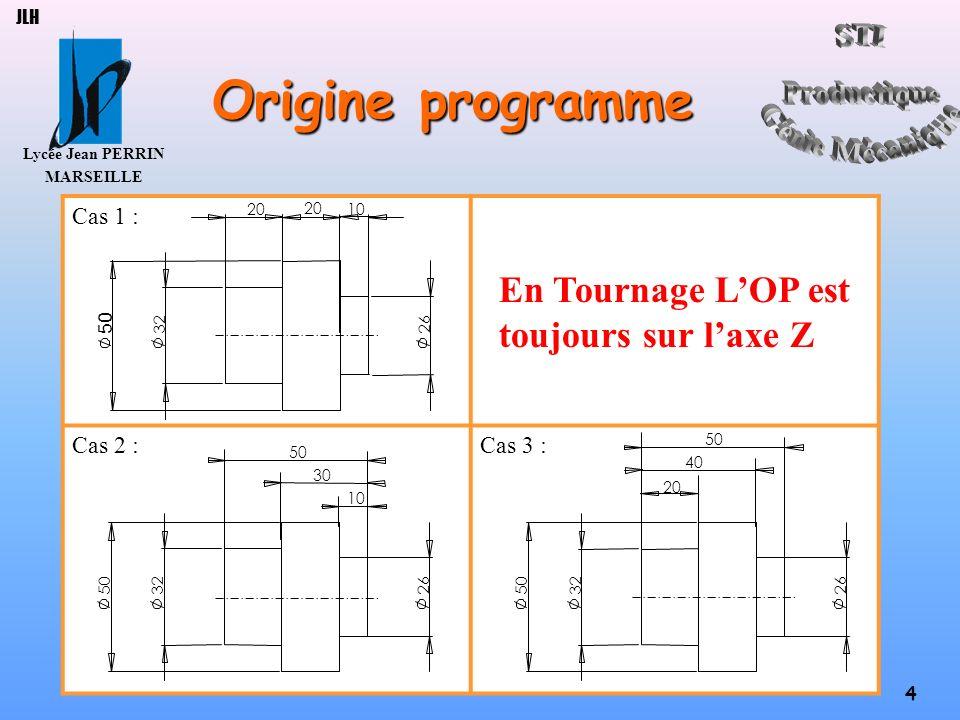 Origine programme En Tournage L'OP est toujours sur l'axe Z Cas 1 :