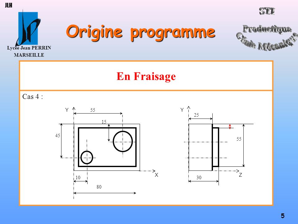 JLH Origine programme En Fraisage Cas 4 : X Z 10 30 45 55 15 Y 25 80