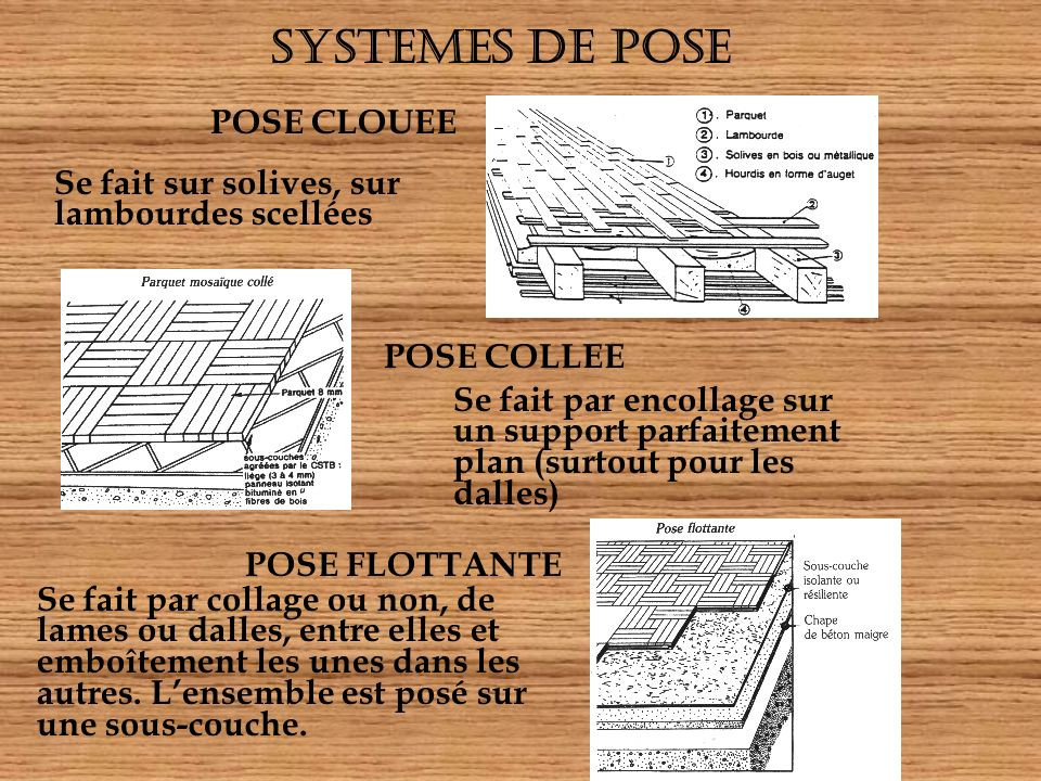 SYSTEMES DE POSE POSE CLOUEE