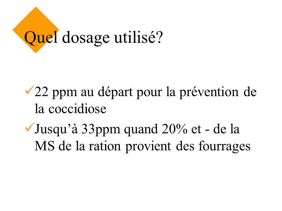 Quel dosage utilisé. 22 ppm au départ pour la prévention de la coccidiose.