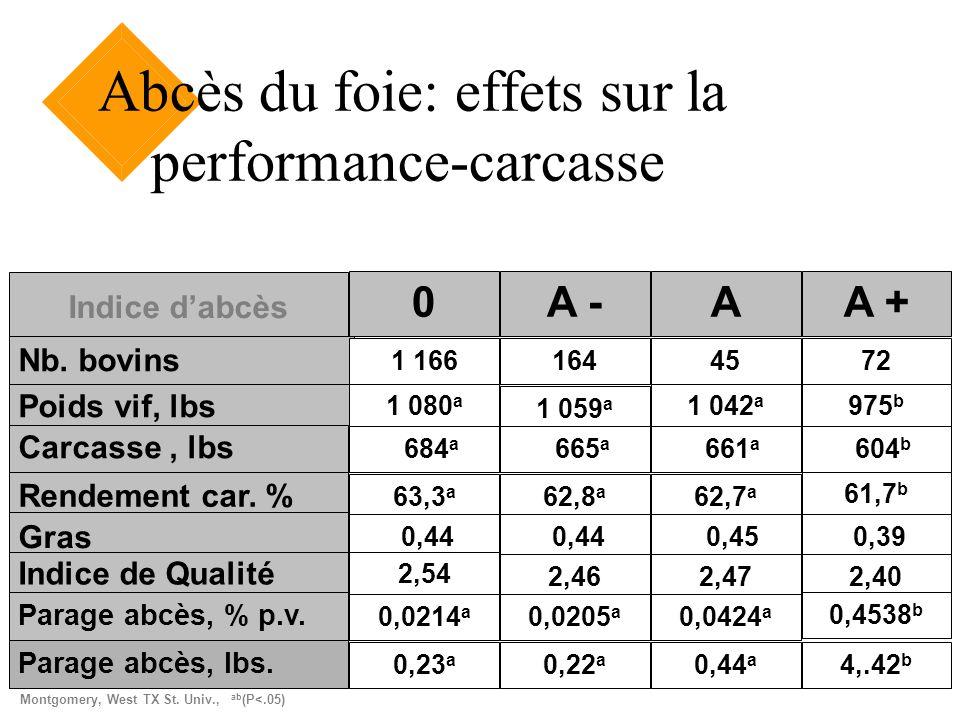 Abcès du foie: effets sur la performance-carcasse
