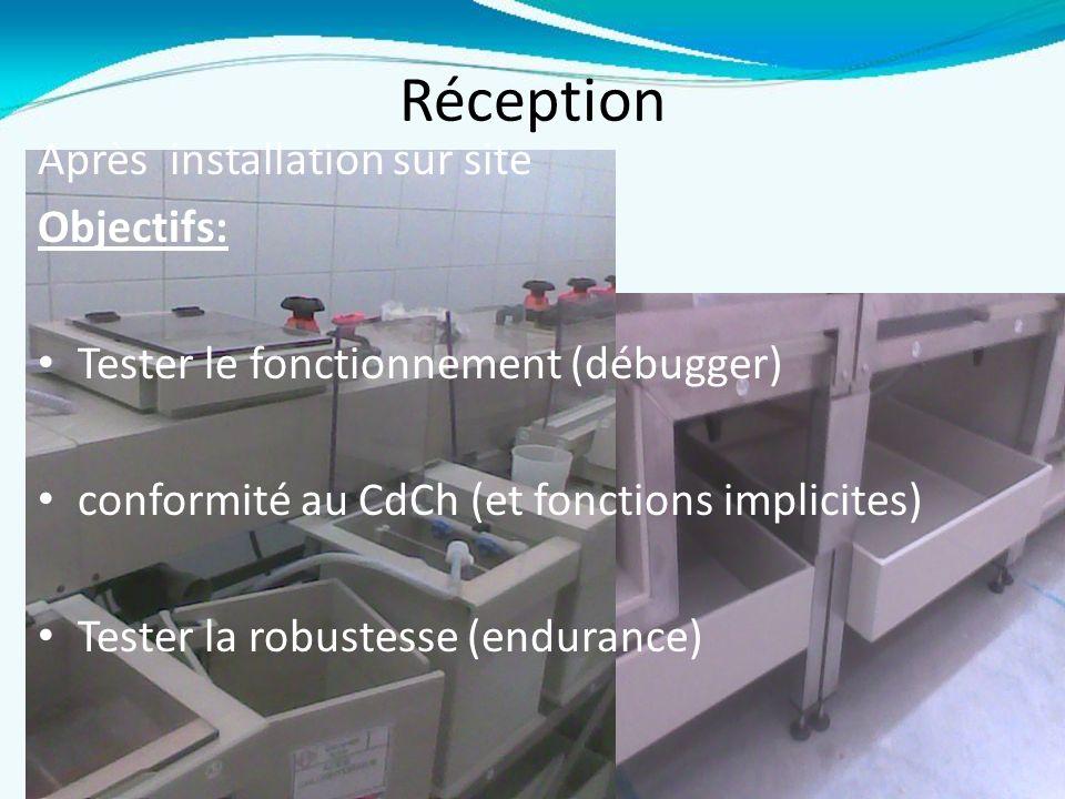 Réception Après installation sur site Objectifs:
