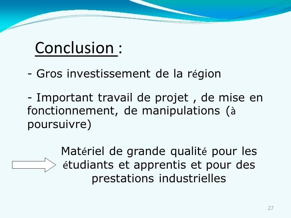 Conclusion : Gros investissement de la région