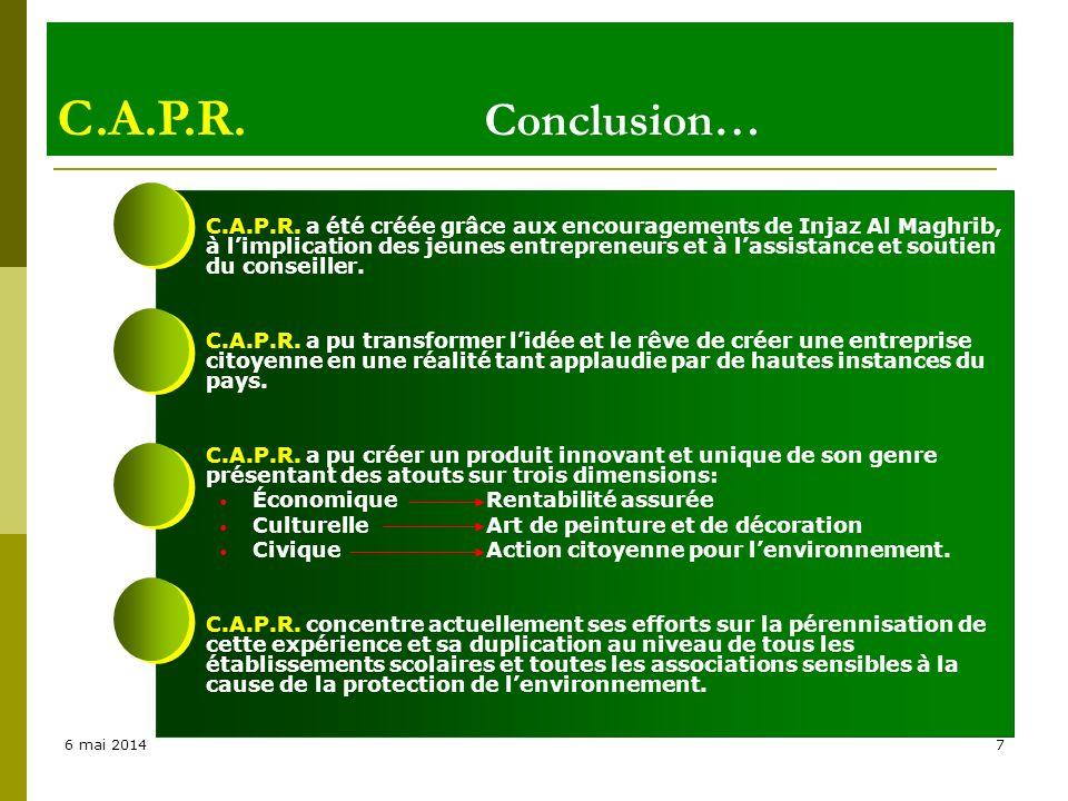 C.A.P.R. Conclusion…