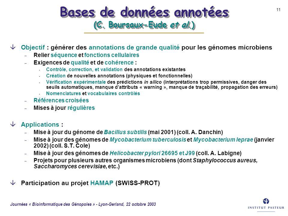 Bases de données annotées (C. Boursaux-Eude et al.)