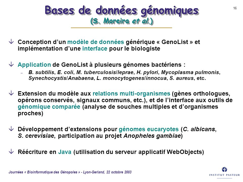 Bases de données génomiques (S. Moreira et al.)