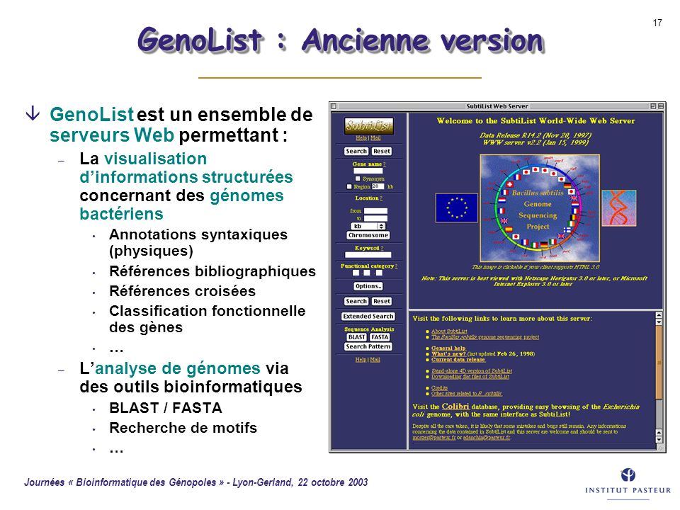 GenoList : Ancienne version
