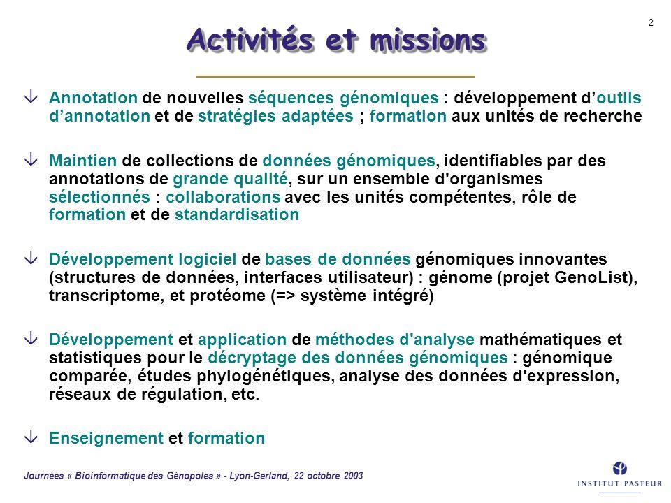 Activités et missions