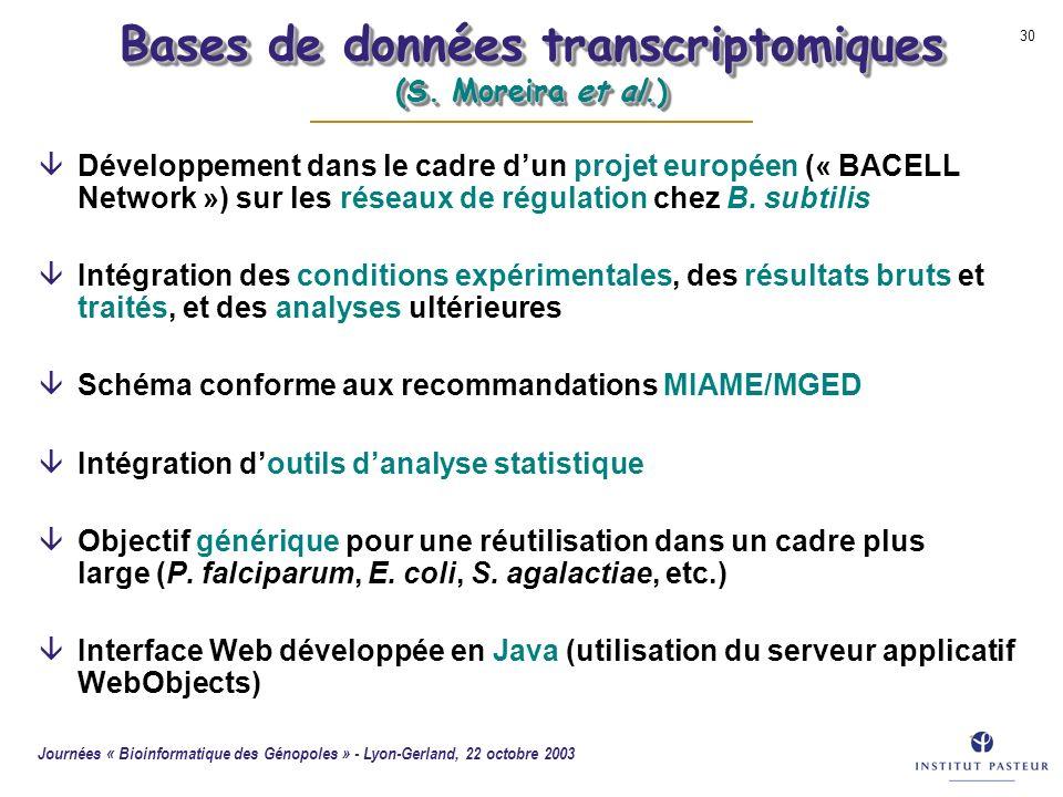 Bases de données transcriptomiques (S. Moreira et al.)