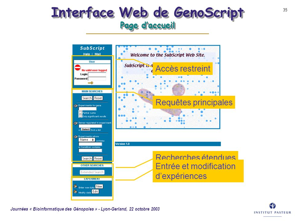 Interface Web de GenoScript Page d'accueil