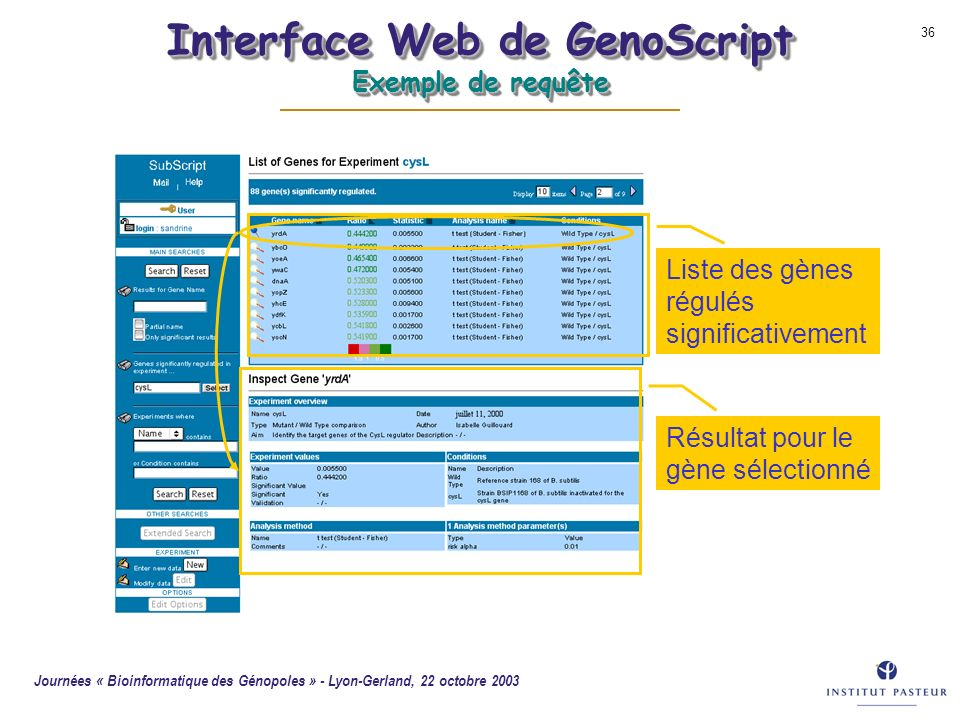 Interface Web de GenoScript Exemple de requête