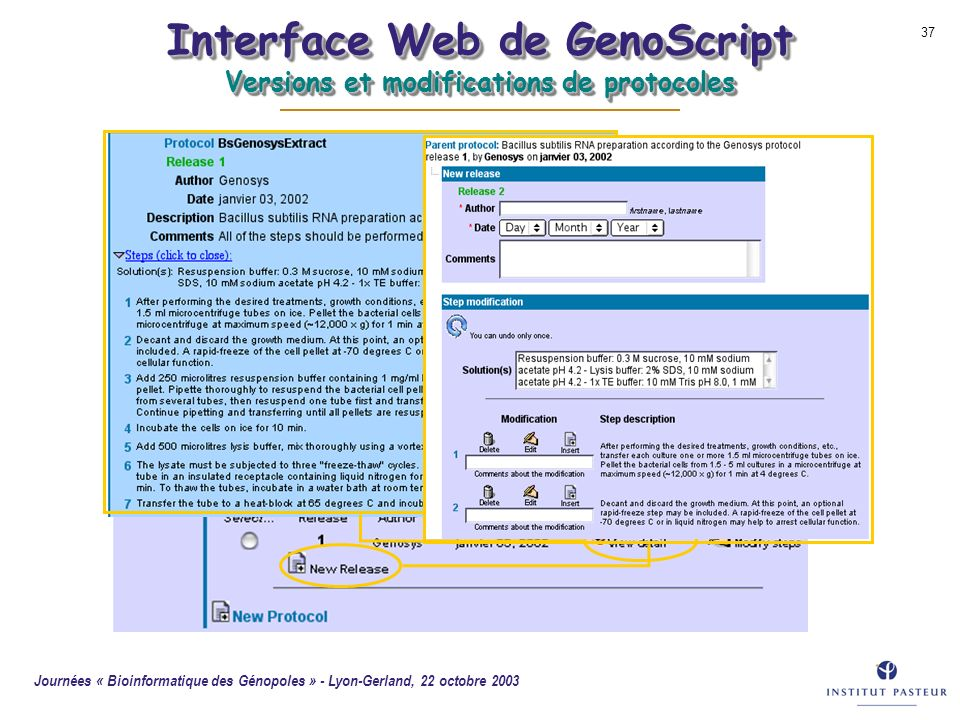 Interface Web de GenoScript Versions et modifications de protocoles