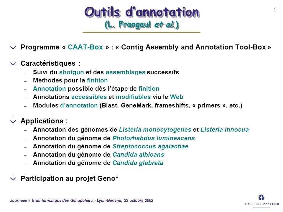 Outils d'annotation (L. Frangeul et al.)