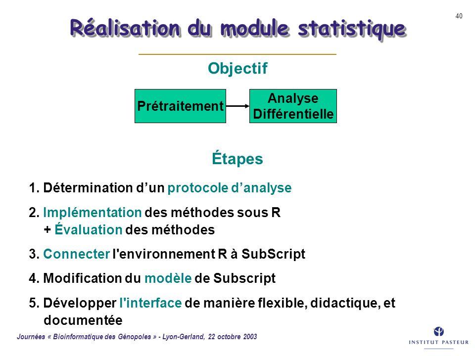 Réalisation du module statistique