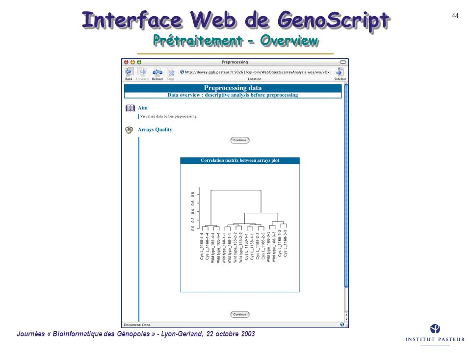 Interface Web de GenoScript Prétraitement - Overview