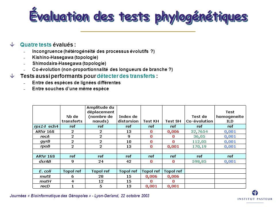 Évaluation des tests phylogénétiques
