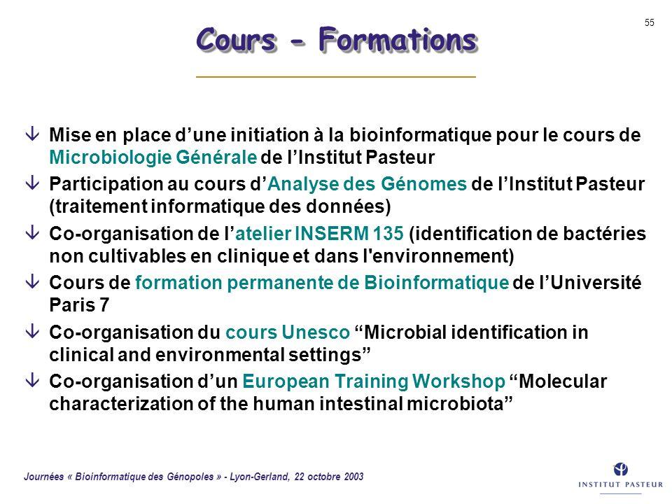 Cours - Formations Mise en place d'une initiation à la bioinformatique pour le cours de Microbiologie Générale de l'Institut Pasteur.