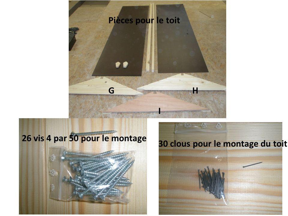 Pièces pour le toit G H I 26 vis 4 par 50 pour le montage 30 clous pour le montage du toit