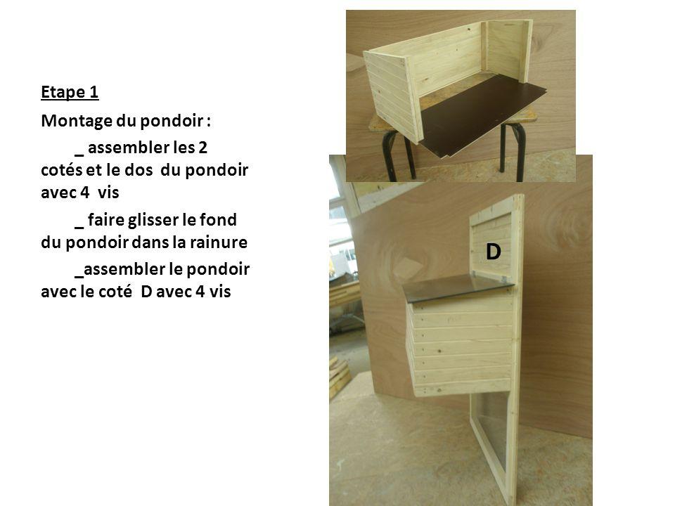 D Etape 1 Montage du pondoir :