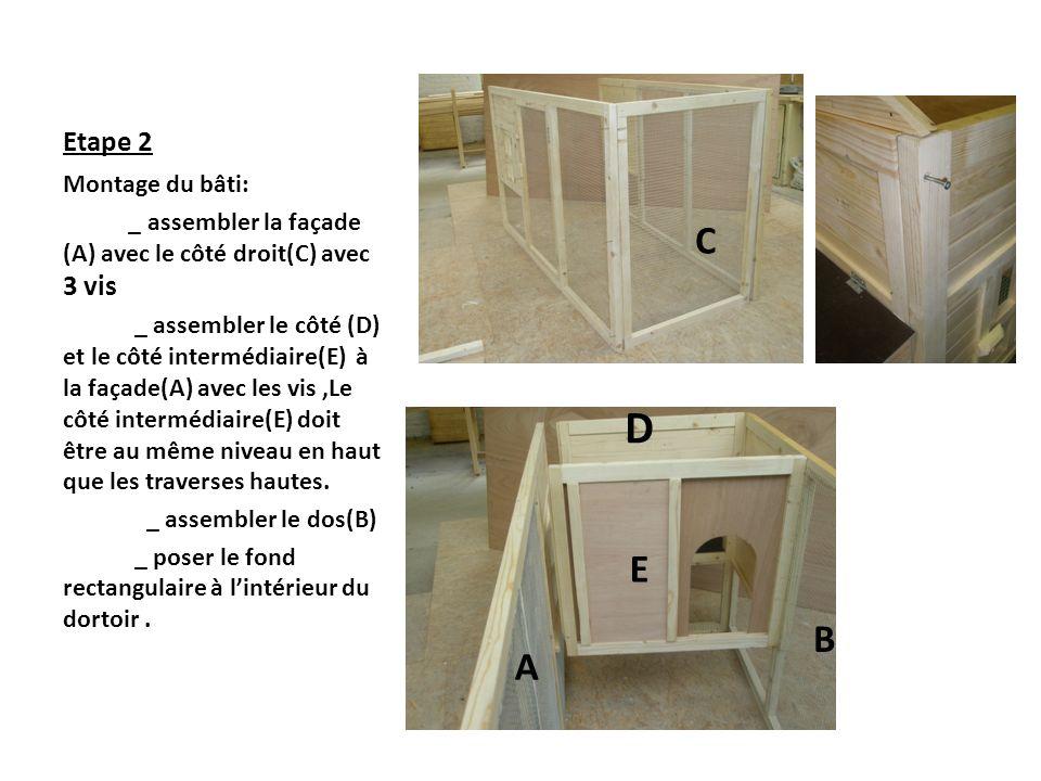 D C E B A Etape 2 Montage du bâti: