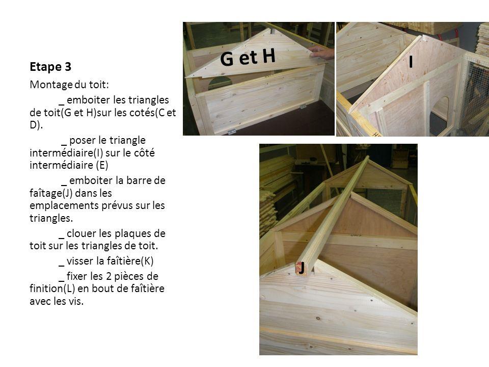 G et H I J Etape 3 Montage du toit:
