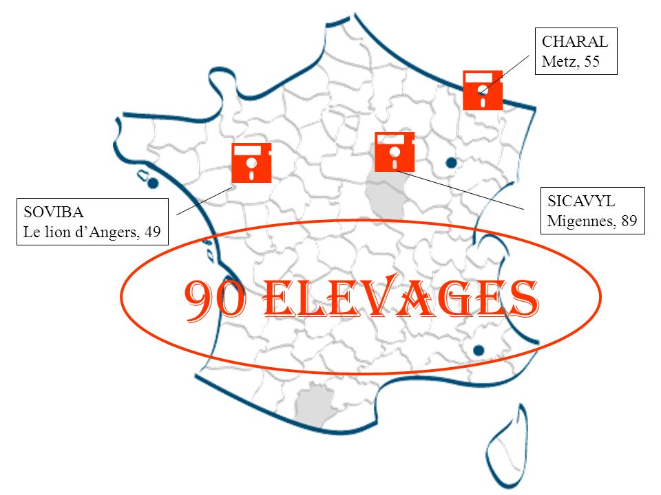  90 Elevages CHARAL Metz, 55 SICAVYL SOVIBA Migennes, 89
