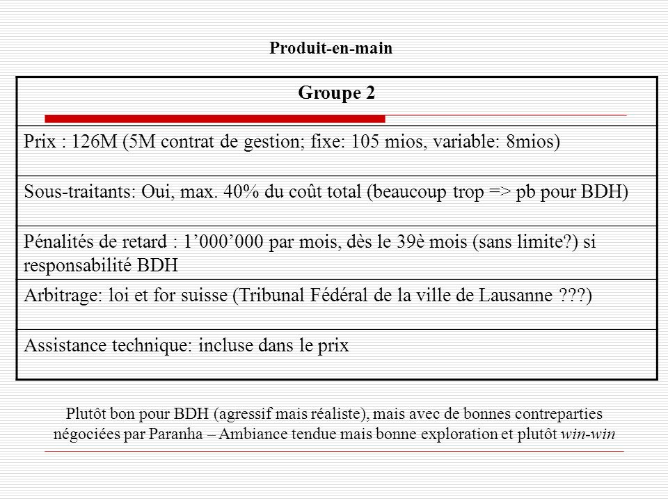 Prix : 126M (5M contrat de gestion; fixe: 105 mios, variable: 8mios)