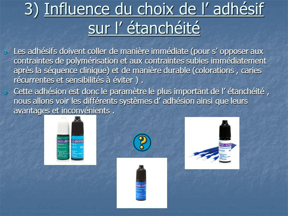3) Influence du choix de l' adhésif sur l' étanchéité