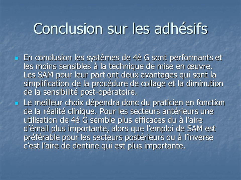 Conclusion sur les adhésifs